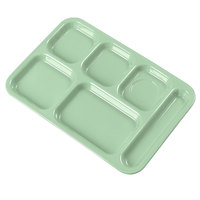 Carlisle 614R09 10 inch x 14 inch Green ABS Plastic Right Hand 6 Compartment Tray