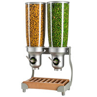 Cal-Mil 3516-2-98FF Beechwood Free Flow 2 Cylinder Cereal Dispenser - 12 3/4 inch x 11 inch x 25 3/4 inch