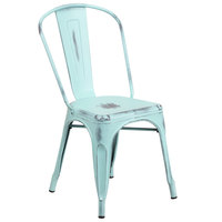 Flash Furniture ET-3534-DB-GG Distressed Green Blue Stackable Metal Chair with Vertical Slat Back and Drain Hole Seat