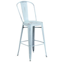 Flash Furniture ET-3534-30-DB-GG Distressed Dream Blue Metal Bar Height Stool with Vertical Slat Back and Drain Hole Seat