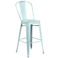 Flash Furniture ET-3534-30-DB-GG Distressed Green Blue Metal Bar Height Stool with Vertical Slat Back and Drain Hole Seat