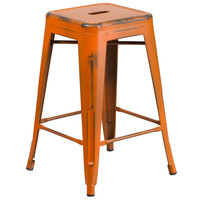 Flash Furniture ET-BT3503-24-OR-GG Distressed Orange Stackable Metal Counter Height Stool with Drain Hole Seat