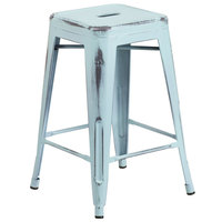 Flash Furniture ET-BT3503-24-DB-GG Distressed Dream Blue Stackable Metal Counter Height Stool with Drain Hole Seat