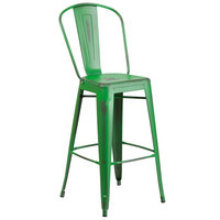 Flash Furniture ET-3534-30-GN-GG Distressed Green Metal Bar Height Stool with Vertical Slat Back and Drain Hole Seat