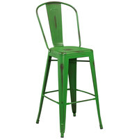 Distressed Green Metal Bar Height Stool with Vertical Slat Back and Drain Hole Seat
