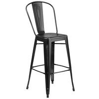Flash Furniture ET-3534-30-BK-GG Distressed Black Metal Bar Height Stool with Vertical Slat Back and Drain Hole Seat