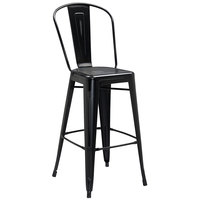 Distressed Black Metal Bar Height Stool with Vertical Slat Back and Drain Hole Seat