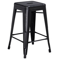 Flash Furniture ET-BT3503-24-BK-GG Distressed Black Stackable Metal Counter Height Stool with Drain Hole Seat