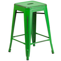 Flash Furniture ET-BT3503-24-GN-GG Distressed Green Stackable Metal Counter Height Stool with Drain Hole Seat
