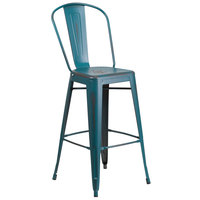 Flash Furniture ET-3534-30-KB-GG Distressed Kelly Blue-Teal Metal Bar Height Stool with Vertical Slat Back and Drain Hole Seat