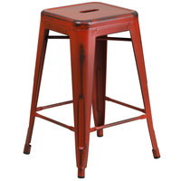 Flash Furniture ET-BT3503-24-RD-GG Distressed Kelly Red Stackable Metal Counter Height Stool with Drain Hole Seat