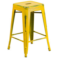 Flash Furniture ET-BT3503-24-YL-GG Distressed Yellow Stackable Metal Counter Height Stool with Drain Hole Seat