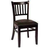 BFM Seating LWC102BLBLV Delran Black Wood Side Chair with 2 inch Black Vinyl Seat