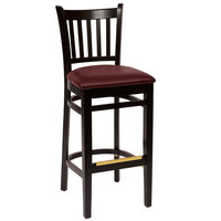 BFM Seating LWB102BLBUV Delran Black Wood Bar Height Chair with 2 inch Burgundy Vinyl Seat