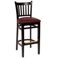 BFM Seating LWB102BLBUV Delran Black Wood Bar Height Chair with 2 inch Burgundy Vinyl Seat