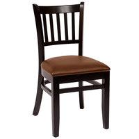 BFM Seating LWC102BLLBV Delran Black Wood Side Chair with 2 inch Brown Vinyl Seat