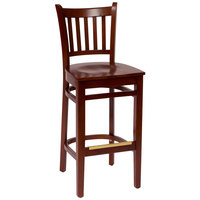 BFM Seating LWB102MHMHW Delran Mahogany Wood Bar Height Chair