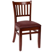 BFM Seating LWC102MHBUV Delran Mahogany Wood Side Chair with 2 inch Burgundy Vinyl Seat