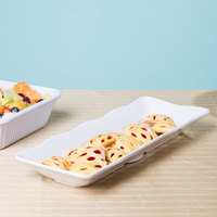 Elite Global Solutions M717S The Bakers 17 1/4 inch x 6 5/8 inch White Scalloped Melamine Tray