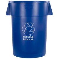 Carlisle 341044REC14 Bronco 44 Gallon Blue Recycling Trash Can