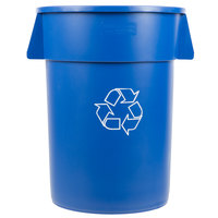 Carlisle 341044REC14 Bronco 44 Gallon Blue Recycling Trash Can