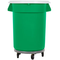 Continental 32 Gallon Green Recycling Trash Can, Lid, and Dolly Kit