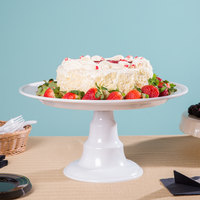 Elite Global Solutions M16RPKT On a Pedestal 16 inch x 8 1/2 inch Round White Melamine Plate Stand