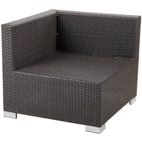 BFM Seating PH5101JV-R Aruba Java Wicker Outdoor / Indoor Cushion Armchair with Right Arm Rest