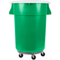 44 Gallon Green Recycling Trash Can, Lid, and Dolly Kit