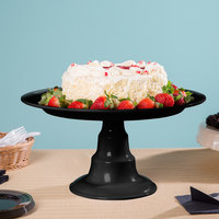 Elite Global Solutions M16RPKT On a Pedestal 16 inch x 8 1/2 inch Round Black Melamine Plate Stand