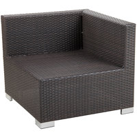 BFM Seating PH5101JV-L Aruba Java Wicker Outdoor / Indoor Cushion Armchair with Left Arm Rest