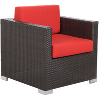 BFM Seating PH5102JV Aruba Java Wicker Outdoor / Indoor Cushion Armchair with Left and Right Armrests