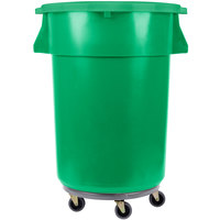 44 Gallon Green Trash Can, Lid, and Dolly Kit