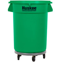 Continental 32 Gallon Green Trash Can, Lid, and Dolly Kit