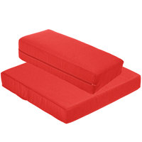 BFM Seating PH5101MW-CU5477 Aruba Logo Red Canvas Armless Chair Cushion Set