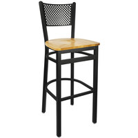 BFM Seating 2161BNTW-SB Polk Sand Black Metal Bar Height Chair with Natural Seat