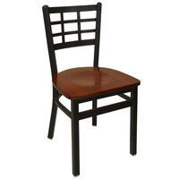 BFM Seating 2163CMHW-SB Marietta Sand Black Metal Side Chair with Mahogany Wood Seat
