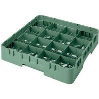Cambro 16S1058119 Camrack 11 inch High Customizable 16 Sherwood Green Compartment Glass Rack