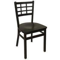 BFM Seating 2163CBLW-SB Marietta Sand Black Metal Side Chair with Black Wood Seat