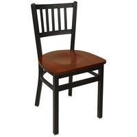 BFM Seating 2090CMHW-SB Troy Sand Black Metal Side Chair with Mahogany Seat