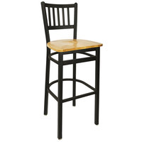 BFM Seating 2090BNTW-SB Troy Sand Black Metal Bar Height Chair with Natural Seat