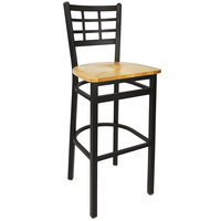 BFM Seating 2163BNTW-SB Marietta Sand Black Metal Bar Height Chair with Natural Wood Seat