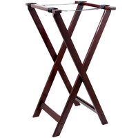 "Lancaster Table &amp&#x3b; Seating 32"" Folding Wood Tray Stand Red Brown"