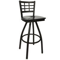 BFM Seating 2163SBLW-SB Marietta Sand Black Metal Swivel Bar Height Chair with Black Wood Seat