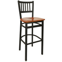 BFM Seating 2090BCHW-SB Troy Sand Black Metal Bar Height Chair with Cherry Seat