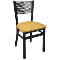 BFM Seating 2161CNTW-SB Polk Sand Black Metal Side Chair with Natural Seat