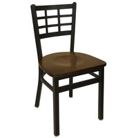 BFM Seating 2163CWAW-SB Marietta Sand Black Metal Side Chair with Walnut Wood Seat