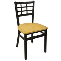BFM Seating 2163CNTW-SB Marietta Sand Black Metal Side Chair with Natural Wood Seat