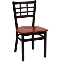 BFM Seating 2163CCHW-SB Marietta Sand Black Metal Side Chair with Cherry Wood Seat