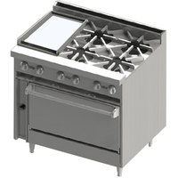 Blodgett BR-12GT-4 4 Burner 36 inch Thermostatic Gas Range with Left Side 12 inch Griddle and Cabinet Base - 144,000 BTU